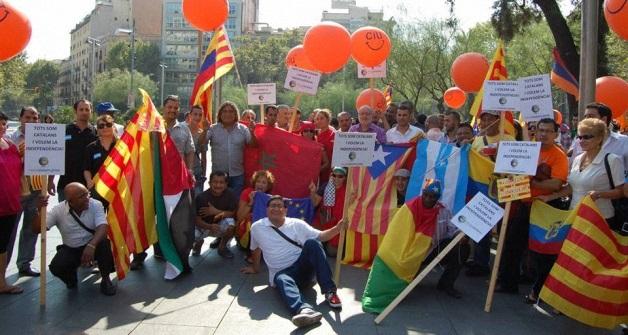 العلم المغربي في تظاهرة مؤيدة لاستقلال كتالونيا