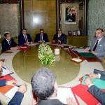 فاضل بنعيش في اجتماع مع الملك رفقة أعضاء الحكومة وهو الأول على اليسار في مقدمة الصورة/ماب