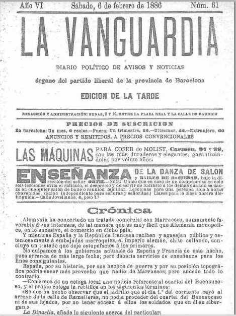 عدد 6 فبراير 1886 ينشر جزء من مقال في الصفحة الأولى حول اتفاقية تجارية بين المغرب وألمانيا لصالح الأخيرة، وينتقد عدم اتخاذ فرنسا واسبانيا إجراءات للرد.